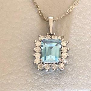 Jewelry - Blue Topaz w/ imitation diamonds necklace